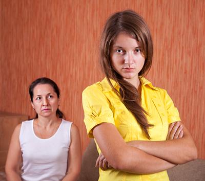Mother and  daughter having quarrel